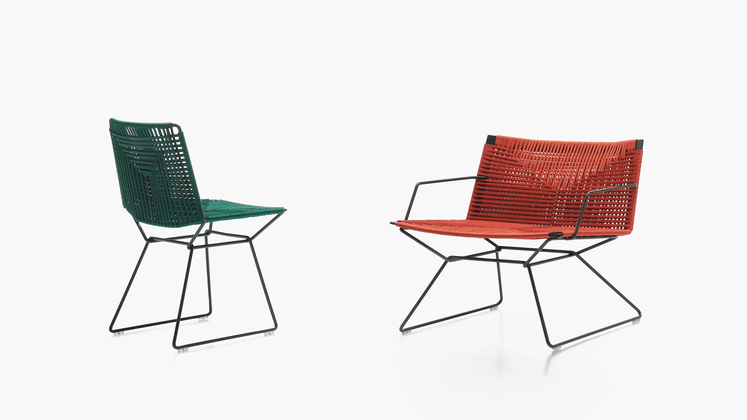 hauser-design-mdf-italia-stuhl-neil-twist-in-dunkelgrün-und-orange